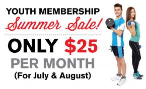 Youth Membership Sale - Only $25 per month for July & August 2017