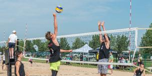 Photo of beach volleyball match at Lede Park