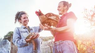 photo of couple holding a hen