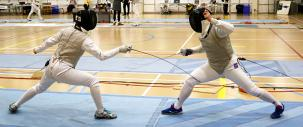 Image of fencing competition being held at the Leduc Recreation Centre