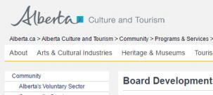 Alberta Culture & Tourism Board Development Program