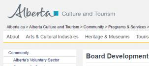 Alberta Culture & Tourism Board Development Program