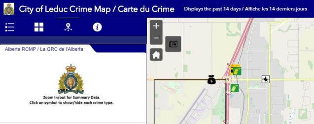 screen capture of crime map