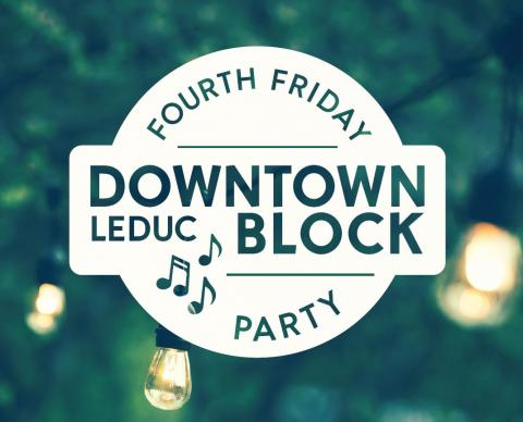 Fourth Friday Downtown Leduc Block Party logo