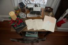 Photo of typewriter inside Dr. Woods House museum