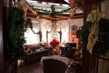 Photo of christmas setup inside Dr. Woods House museum