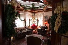 Photo of christmas setup inside Dr. Woods House museum