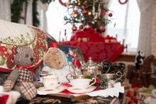 Photo of tea set inside Dr. Woods House museum