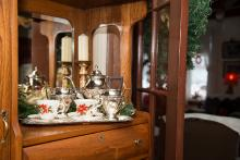 Photo of tea set inside Dr. Woods House museum
