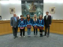Team Alberta Lacrosse volunteers receiving award at City Council