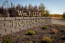 Photo of Lede Park entrance sign