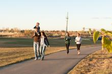 family walking on multiway trail system